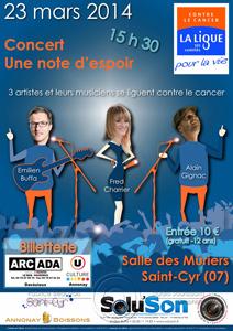 Affiche du concert Une note d'espoir au profit de la ligue contre le cancer par Fabrice Beauvois • Studio Sourisdom