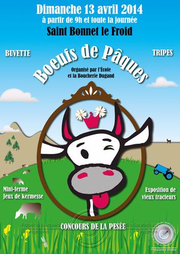 Affiche des boeufs de pâques 2014 saint bonnet le froid par Fabrice Beauvois • Studio Sourisdom