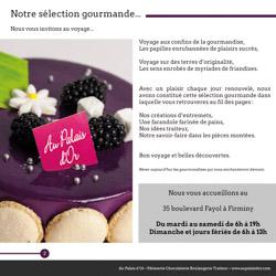 Brochure Pâtisserie Au Palais d'Or Fiminy par le graphiste Fabrice Beauvois • Studio Sourisdom
