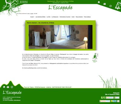 Site internet de l'Escapade à Rochepaule, une création de Fabrice Beauvois - Sourisdom