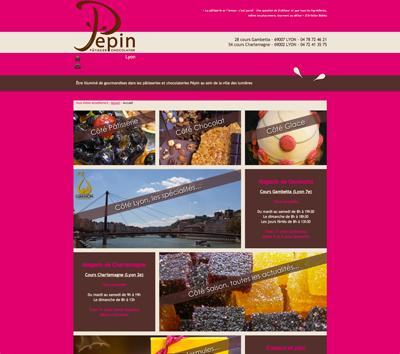 Site internet de la pâtisserie chocolaterie Pépin à Lyon, une création de Fabrice Beauvois - Sourisdom