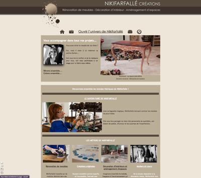 Site internet de Nikifarfallé Créations, rénovation et création originale de meubles, un site de Fabrice Beauvois - Sourisdom